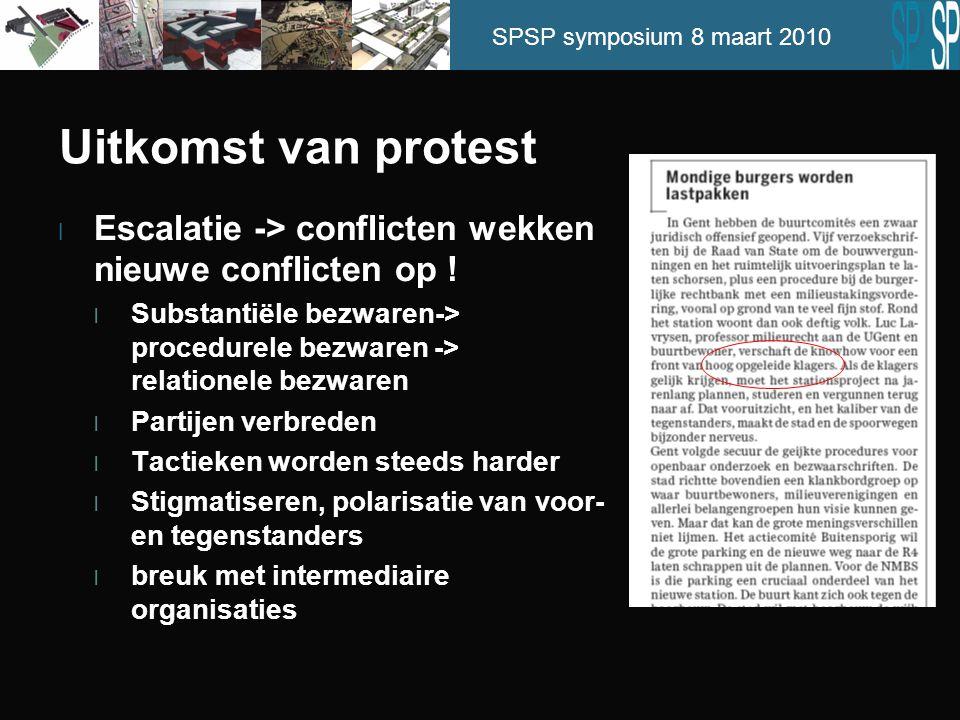 SPSP symposium 8 maart 2010 Uitkomst van protest l Escalatie -> conflicten wekken nieuwe conflicten op ! l Substantiële bezwaren-> procedurele bezware