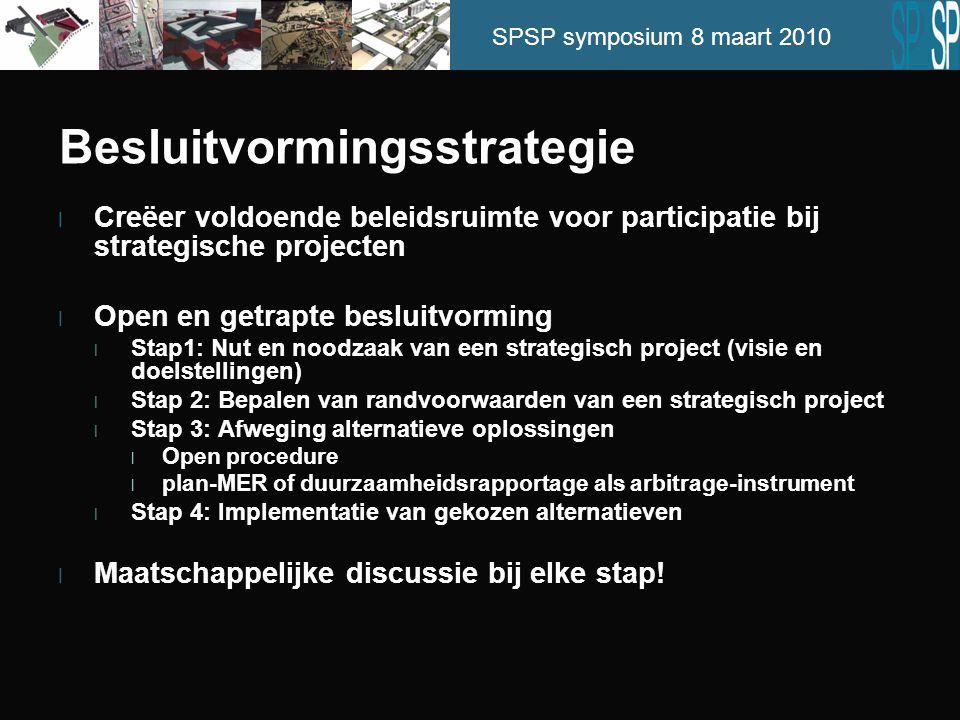 SPSP symposium 8 maart 2010 Besluitvormingsstrategie l Creëer voldoende beleidsruimte voor participatie bij strategische projecten l Open en getrapte besluitvorming l Stap1: Nut en noodzaak van een strategisch project (visie en doelstellingen) l Stap 2: Bepalen van randvoorwaarden van een strategisch project l Stap 3: Afweging alternatieve oplossingen l Open procedure l plan-MER of duurzaamheidsrapportage als arbitrage-instrument l Stap 4: Implementatie van gekozen alternatieven l Maatschappelijke discussie bij elke stap!