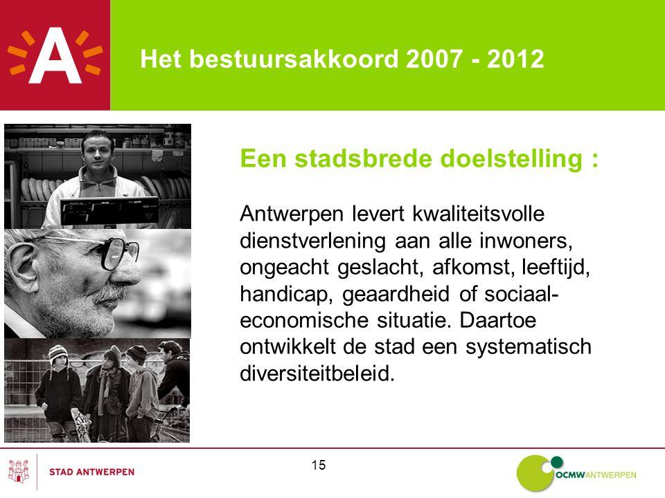 15 Een stadsbrede doelstelling : Antwerpen levert kwaliteitsvolle dienstverlening aan alle inwoners, ongeacht geslacht, afkomst, leeftijd, handicap, geaardheid of sociaal- economische situatie.