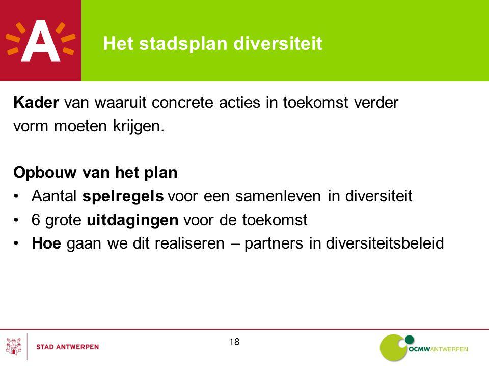 18 Het stadsplan diversiteit Kader van waaruit concrete acties in toekomst verder vorm moeten krijgen.