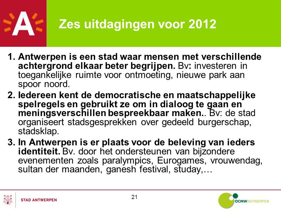 21 Zes uitdagingen voor 2012 1.Antwerpen is een stad waar mensen met verschillende achtergrond elkaar beter begrijpen.