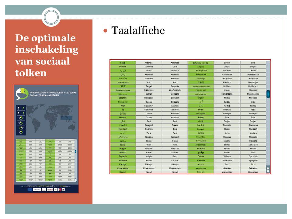 De optimale inschakeling van sociaal tolken Taalaffiche