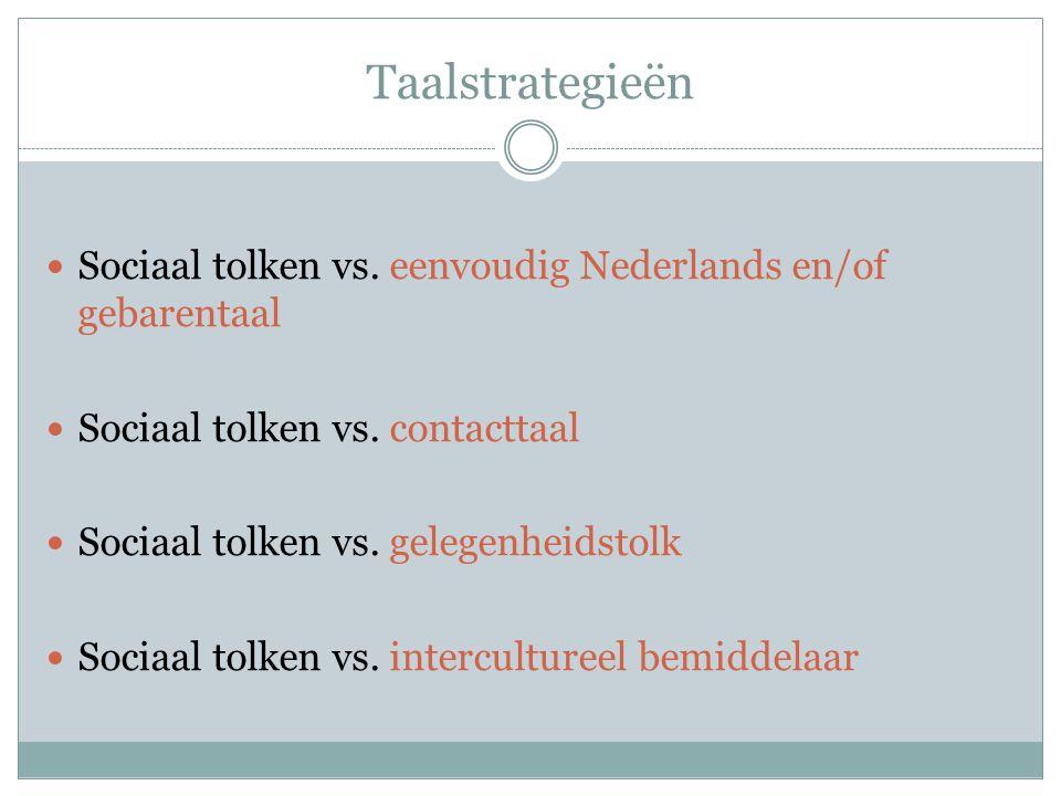 Taalstrategieën Sociaal tolken vs. eenvoudig Nederlands en/of gebarentaal Sociaal tolken vs. contacttaal Sociaal tolken vs. gelegenheidstolk Sociaal t