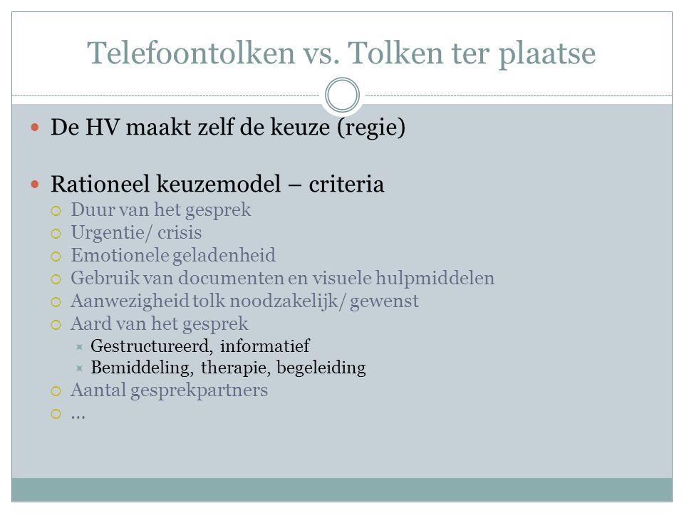 Telefoontolken vs. Tolken ter plaatse De HV maakt zelf de keuze (regie) Rationeel keuzemodel – criteria  Duur van het gesprek  Urgentie/ crisis  Em