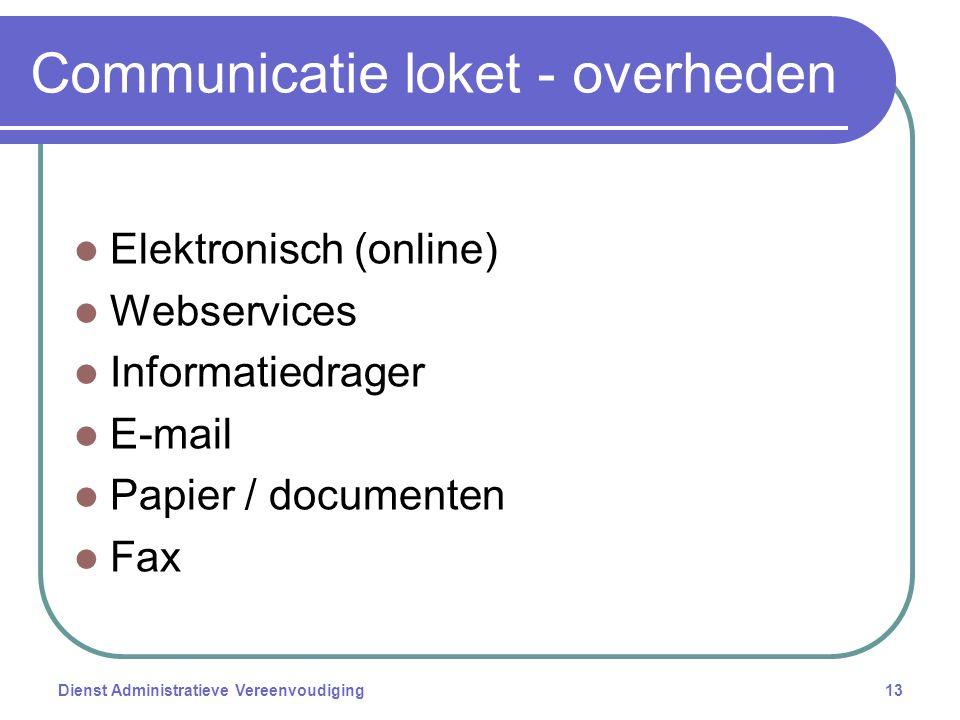 Communicatie loket - overheden Elektronisch (online) Webservices Informatiedrager E-mail Papier / documenten Fax Dienst Administratieve Vereenvoudiging13