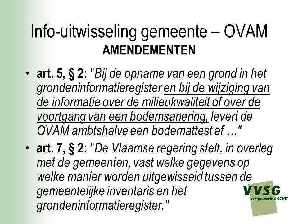 Info-uitwisseling gemeente – OVAM AMENDEMENTEN art.