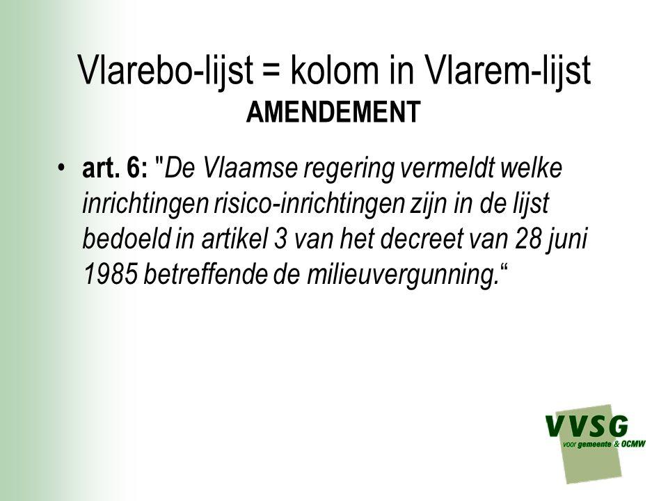 Vlarebo-lijst = kolom in Vlarem-lijst AMENDEMENT art.