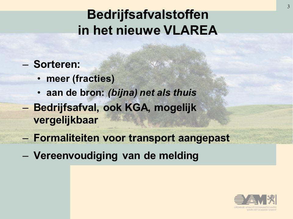 3 Bedrijfsafvalstoffen in het nieuwe VLAREA –Sorteren: meer (fracties) aan de bron: (bijna) net als thuis –Bedrijfsafval, ook KGA, mogelijk vergelijkbaar –Formaliteiten voor transport aangepast –Vereenvoudiging van de melding