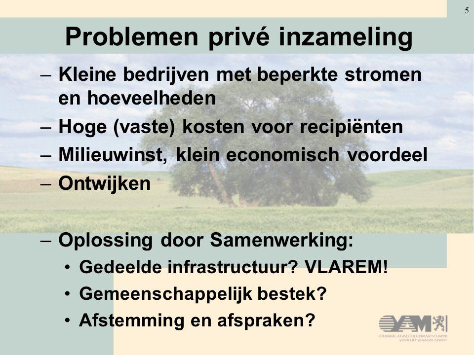 5 Problemen privé inzameling –Kleine bedrijven met beperkte stromen en hoeveelheden –Hoge (vaste) kosten voor recipiënten –Milieuwinst, klein economisch voordeel –Ontwijken –Oplossing door Samenwerking: Gedeelde infrastructuur.