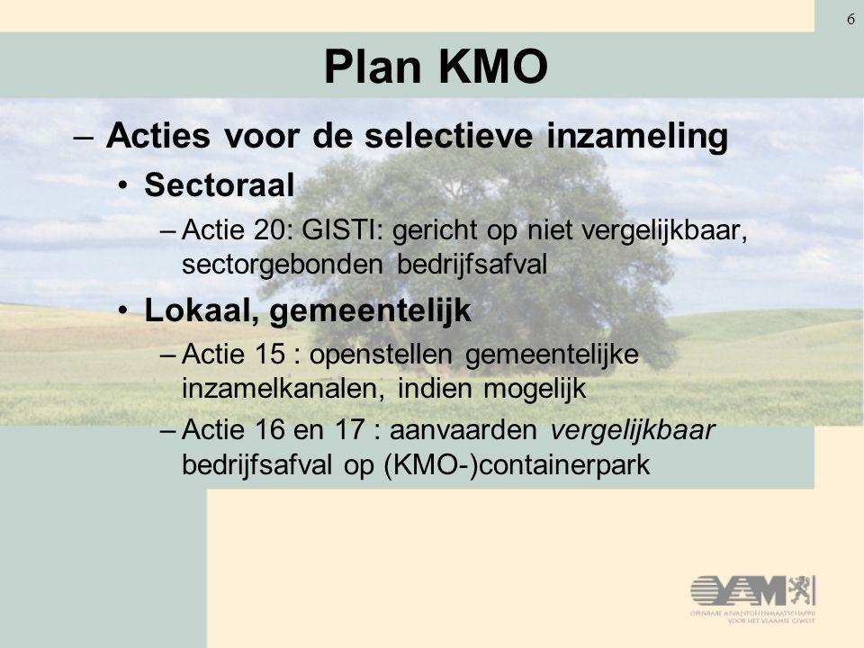 6 Plan KMO –Acties voor de selectieve inzameling Sectoraal –Actie 20: GISTI: gericht op niet vergelijkbaar, sectorgebonden bedrijfsafval Lokaal, gemeentelijk –Actie 15 : openstellen gemeentelijke inzamelkanalen, indien mogelijk –Actie 16 en 17 : aanvaarden vergelijkbaar bedrijfsafval op (KMO-)containerpark