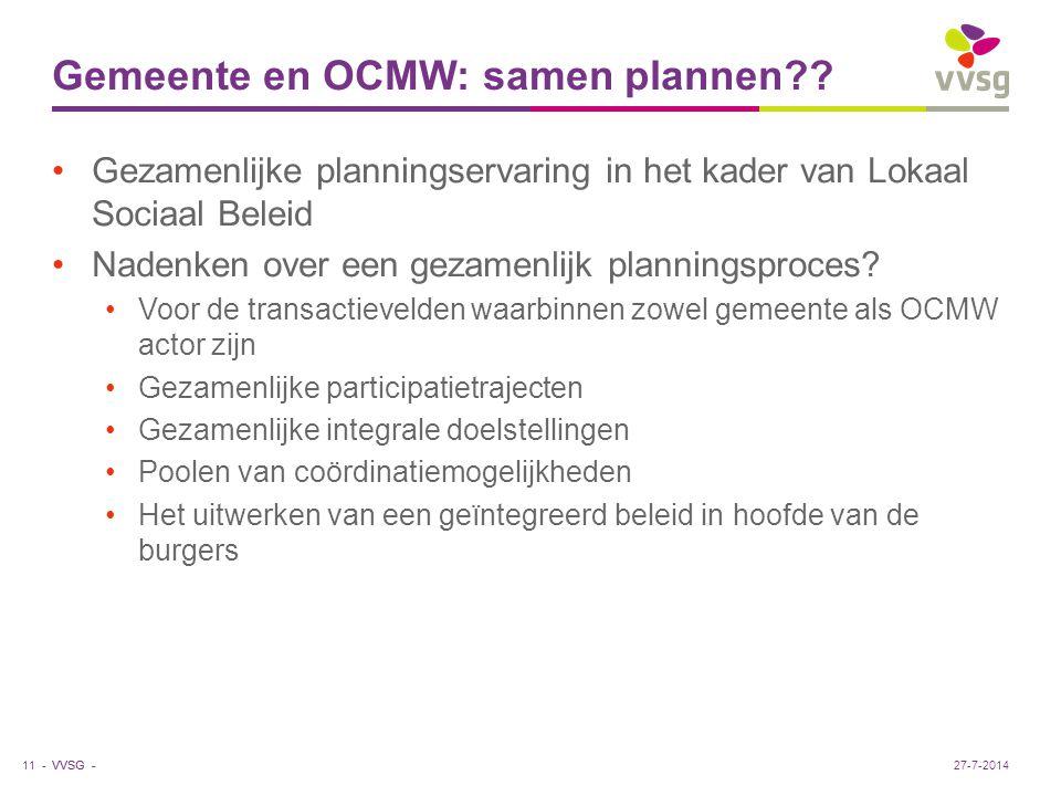 VVSG - Gemeente en OCMW: samen plannen?? Gezamenlijke planningservaring in het kader van Lokaal Sociaal Beleid Nadenken over een gezamenlijk plannings