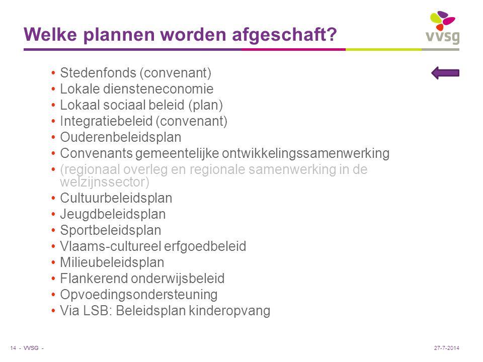 VVSG - Welke plannen worden afgeschaft? Stedenfonds (convenant) Lokale diensteneconomie Lokaal sociaal beleid (plan) Integratiebeleid (convenant) Oude