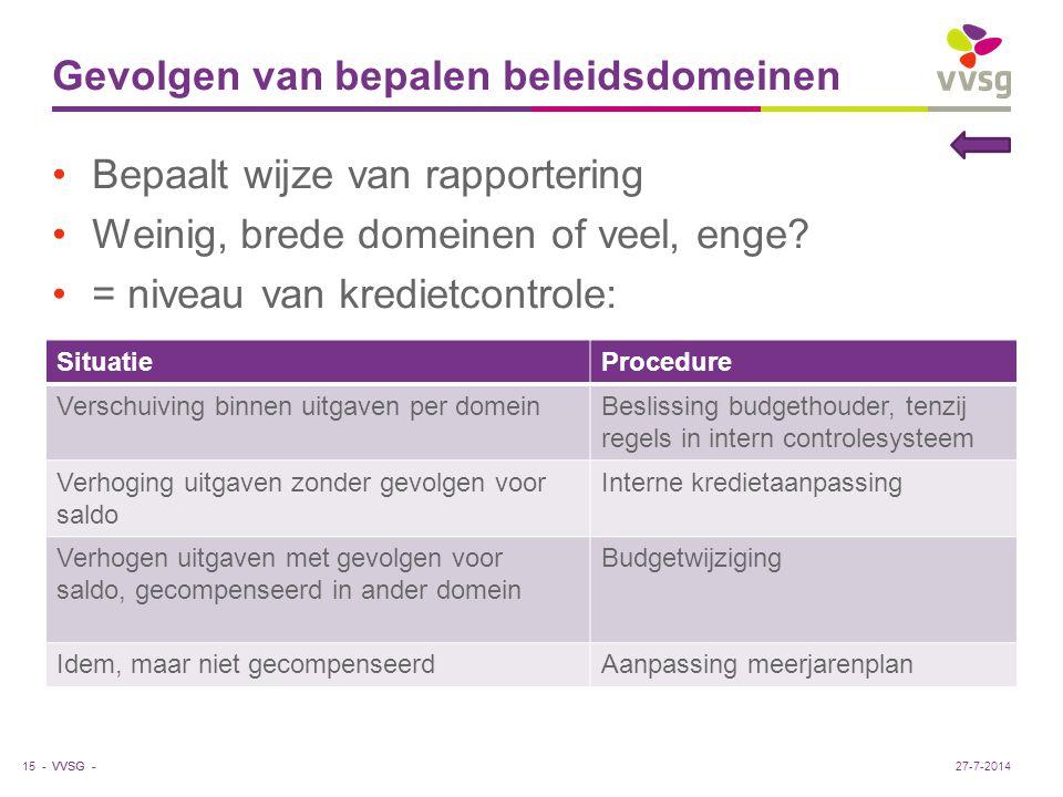 VVSG - Gevolgen van bepalen beleidsdomeinen Bepaalt wijze van rapportering Weinig, brede domeinen of veel, enge? = niveau van kredietcontrole: 15 - Si