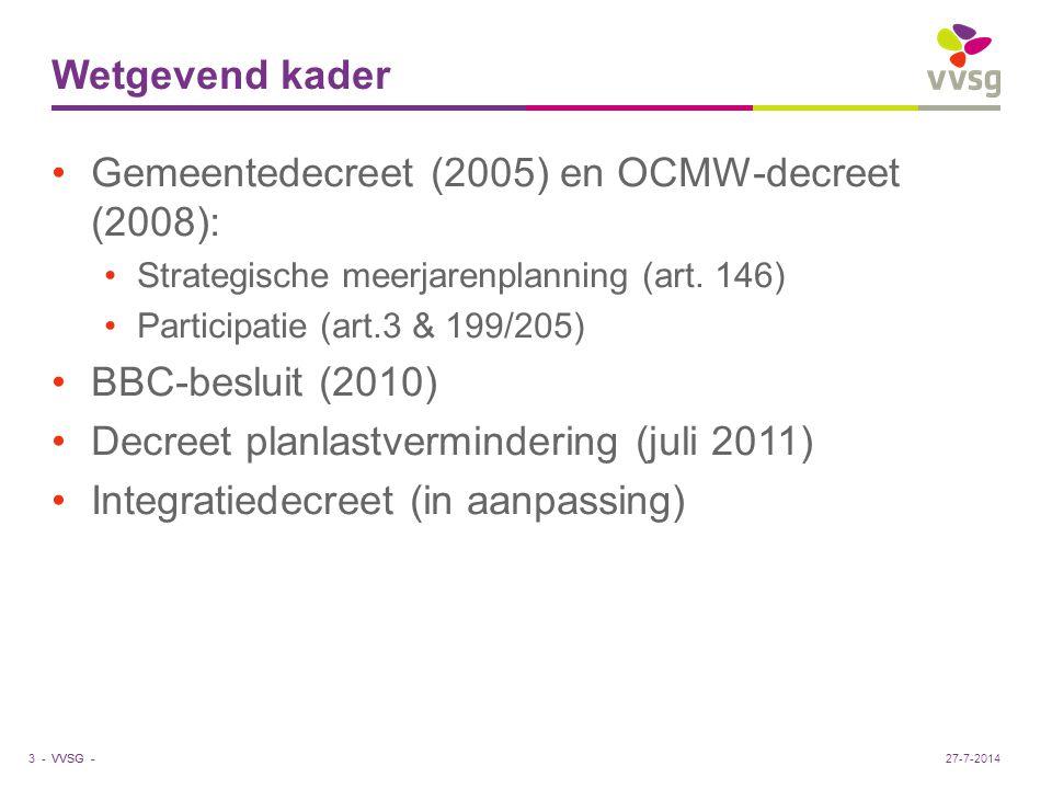 VVSG - Wetgevend kader Gemeentedecreet (2005) en OCMW-decreet (2008): Strategische meerjarenplanning (art. 146) Participatie (art.3 & 199/205) BBC-bes