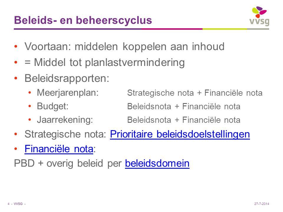 VVSG - Beleids- en beheerscyclus Voortaan: middelen koppelen aan inhoud = Middel tot planlastvermindering Beleidsrapporten: Meerjarenplan: Strategisch