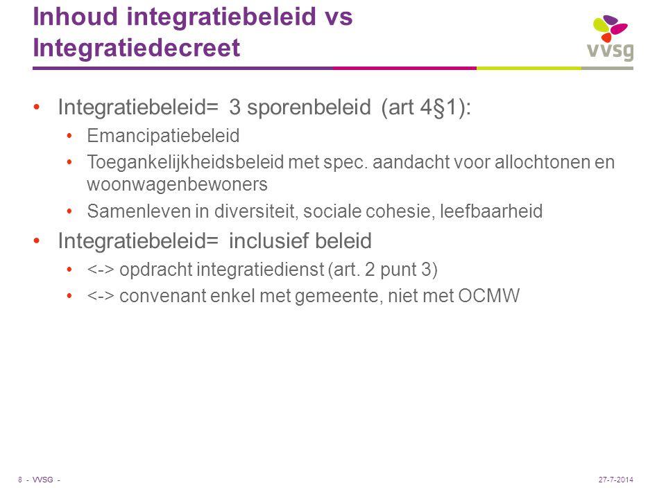 VVSG - Inhoud integratiebeleid vs Integratiedecreet Integratiebeleid= 3 sporenbeleid (art 4§1): Emancipatiebeleid Toegankelijkheidsbeleid met spec. aa
