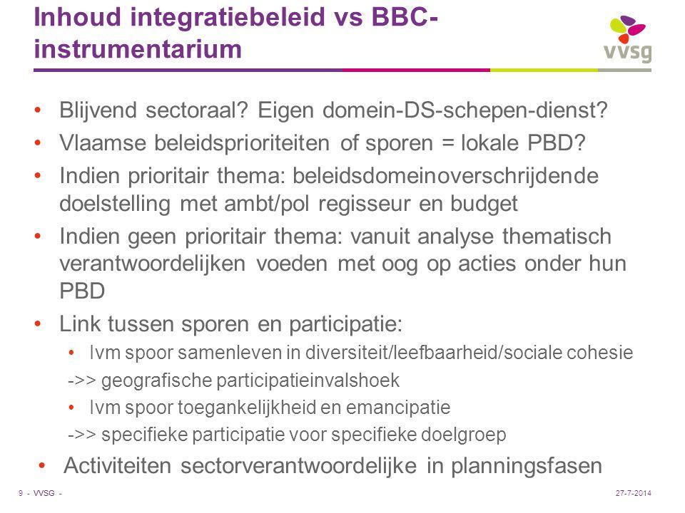 VVSG - Inhoud integratiebeleid vs BBC- instrumentarium Blijvend sectoraal? Eigen domein-DS-schepen-dienst? Vlaamse beleidsprioriteiten of sporen = lok