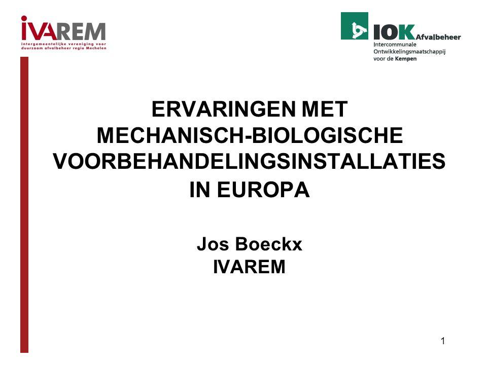 1 ERVARINGEN MET MECHANISCH-BIOLOGISCHE VOORBEHANDELINGSINSTALLATIES IN EUROPA Jos Boeckx IVAREM