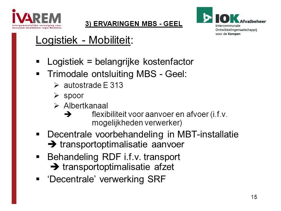 15 Logistiek - Mobiliteit:  Logistiek = belangrijke kostenfactor  Trimodale ontsluiting MBS - Geel:  autostrade E 313  spoor  Albertkanaal  flex