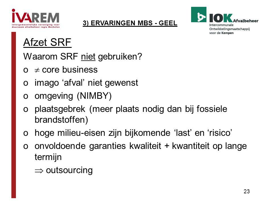 23 Afzet SRF Waarom SRF niet gebruiken? o  core business oimago 'afval' niet gewenst oomgeving (NIMBY) oplaatsgebrek (meer plaats nodig dan bij fossi