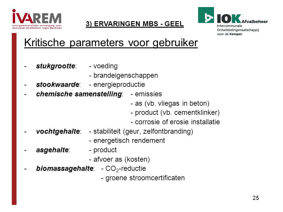 25 Kritische parameters voor gebruiker -stukgrootte -stukgrootte:- voeding - brandeigenschappen -stookwaarde -stookwaarde: - energieproductie -chemisc
