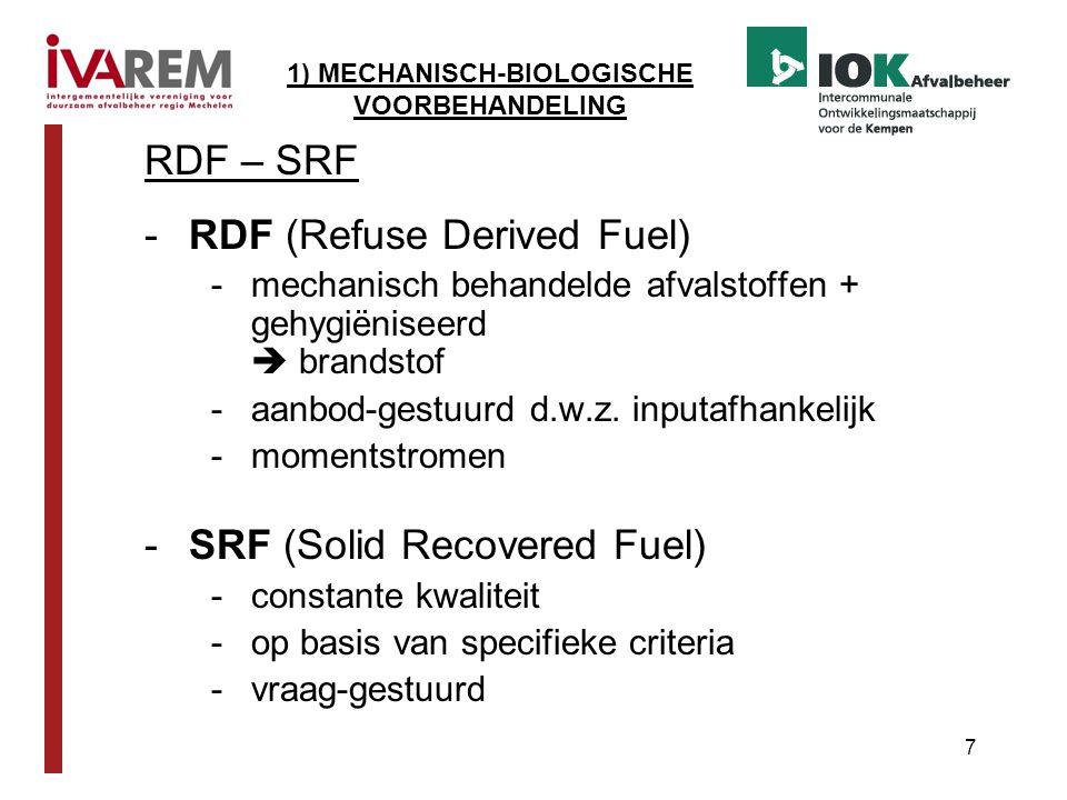 7 RDF – SRF -RDF (Refuse Derived Fuel) -mechanisch behandelde afvalstoffen + gehygiëniseerd  brandstof -aanbod-gestuurd d.w.z. inputafhankelijk -mome