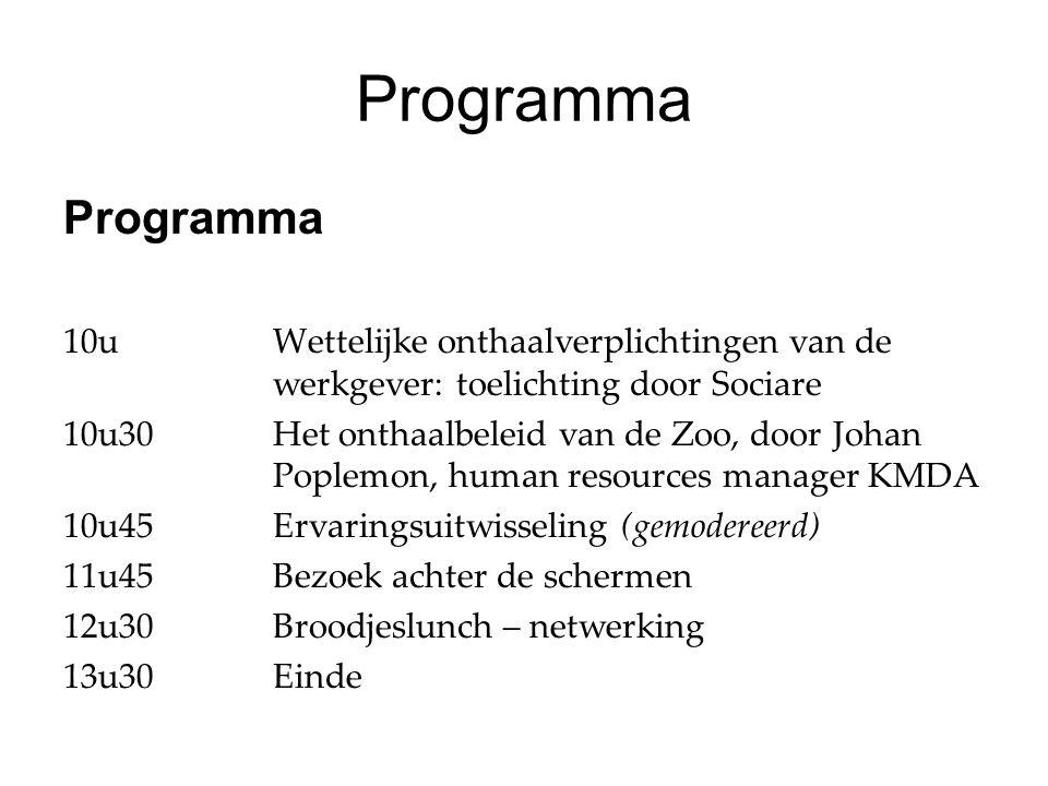 Programma 10uWettelijke onthaalverplichtingen van de werkgever: toelichting door Sociare 10u30Het onthaalbeleid van de Zoo, door Johan Poplemon, human