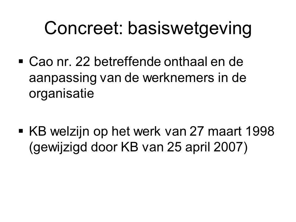 Concreet: basiswetgeving  Cao nr. 22 betreffende onthaal en de aanpassing van de werknemers in de organisatie  KB welzijn op het werk van 27 maart 1