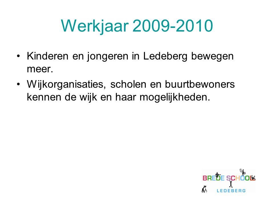 Werkjaar 2009-2010 Kinderen en jongeren in Ledeberg bewegen meer. Wijkorganisaties, scholen en buurtbewoners kennen de wijk en haar mogelijkheden.