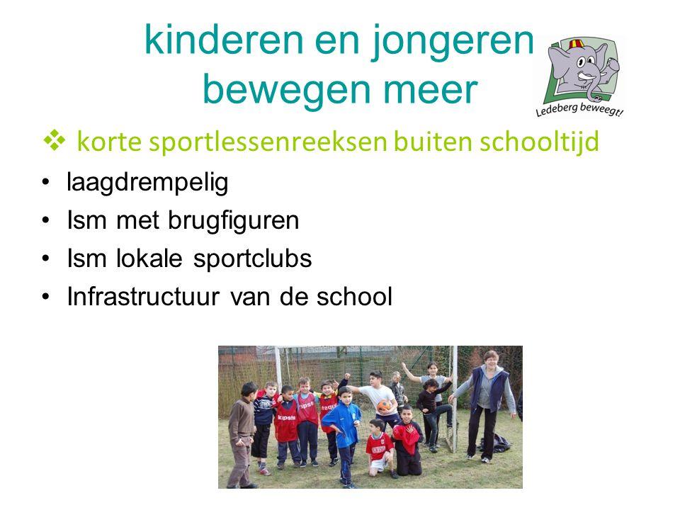kinderen en jongeren bewegen meer  korte sportlessenreeksen buiten schooltijd laagdrempelig Ism met brugfiguren Ism lokale sportclubs Infrastructuur