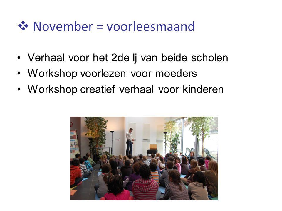  November = voorleesmaand Verhaal voor het 2de lj van beide scholen Workshop voorlezen voor moeders Workshop creatief verhaal voor kinderen