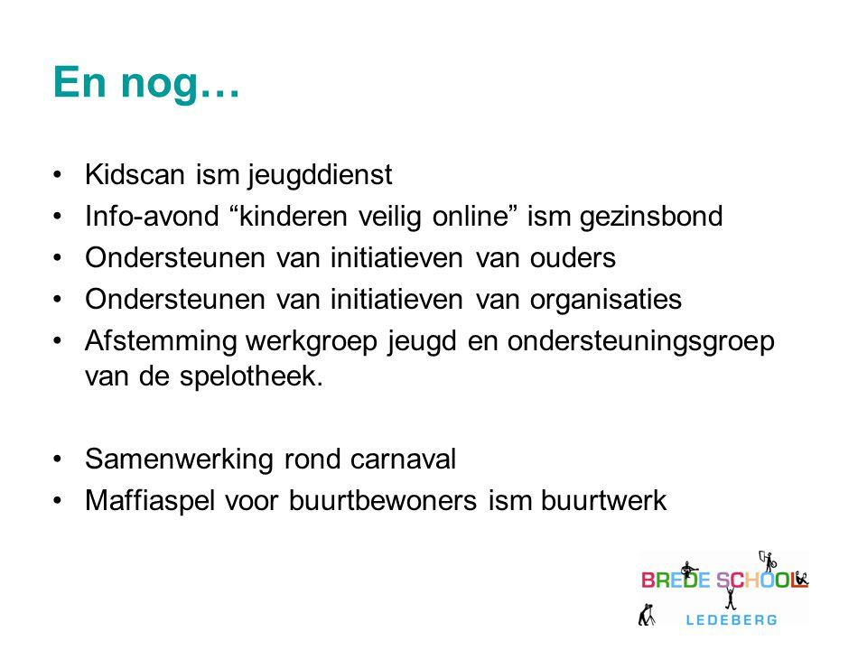 "En nog… Kidscan ism jeugddienst Info-avond ""kinderen veilig online"" ism gezinsbond Ondersteunen van initiatieven van ouders Ondersteunen van initiatie"