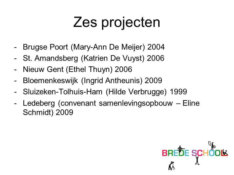 Zes projecten -Brugse Poort (Mary-Ann De Meijer) 2004 -St. Amandsberg (Katrien De Vuyst) 2006 -Nieuw Gent (Ethel Thuyn) 2006 -Bloemenkeswijk (Ingrid A