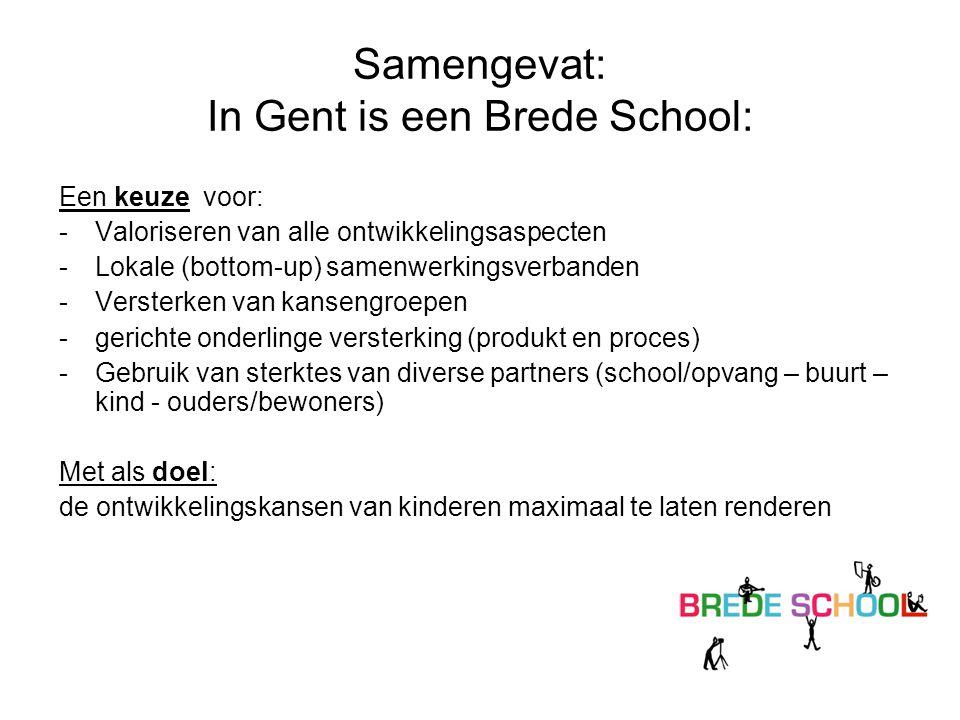 Samengevat: In Gent is een Brede School: Een keuze voor: -Valoriseren van alle ontwikkelingsaspecten -Lokale (bottom-up) samenwerkingsverbanden -Verst