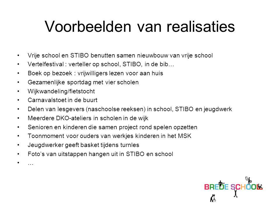 Voorbeelden van realisaties Vrije school en STIBO benutten samen nieuwbouw van vrije school Vertelfestival : verteller op school, STIBO, in de bib… Bo