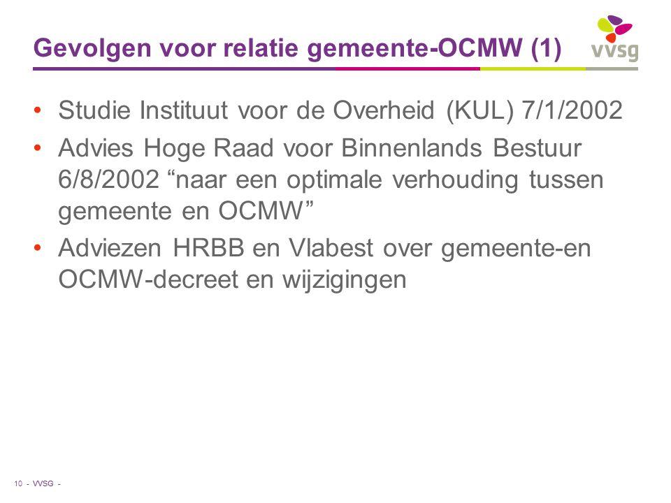 """VVSG - Gevolgen voor relatie gemeente-OCMW (1) Studie Instituut voor de Overheid (KUL) 7/1/2002 Advies Hoge Raad voor Binnenlands Bestuur 6/8/2002 """"na"""