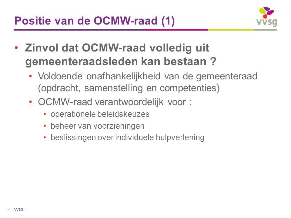 VVSG - Positie van de OCMW-raad (1) Zinvol dat OCMW-raad volledig uit gemeenteraadsleden kan bestaan ? Voldoende onafhankelijkheid van de gemeenteraad