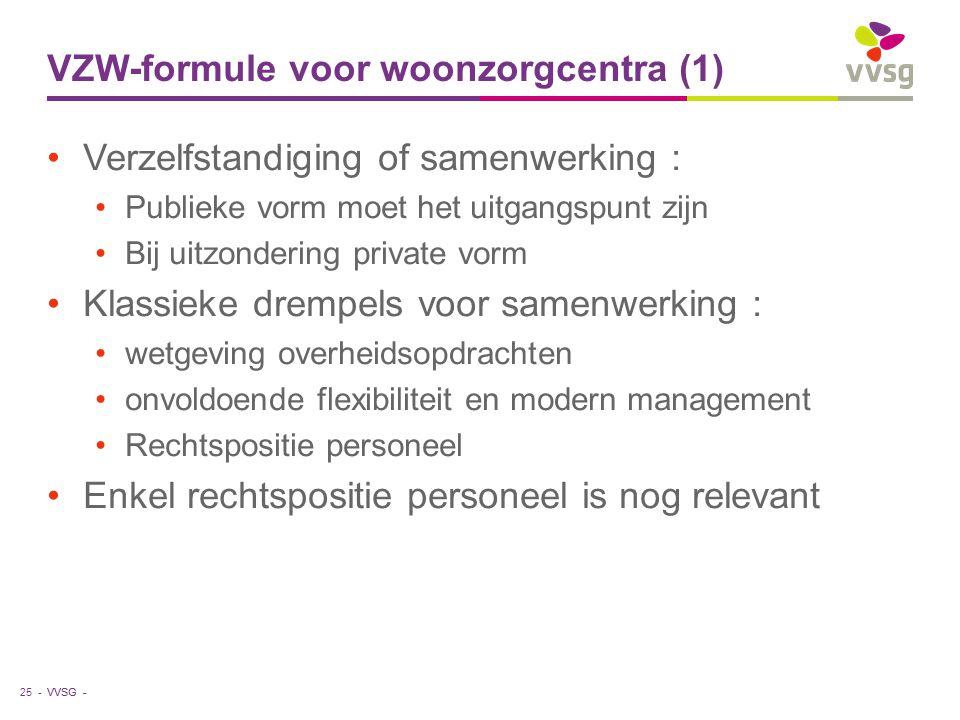 VVSG - VZW-formule voor woonzorgcentra (1) Verzelfstandiging of samenwerking : Publieke vorm moet het uitgangspunt zijn Bij uitzondering private vorm