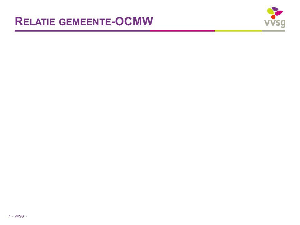 VVSG - Opdracht OCMW (1) Mensen in staat stellen een menswaardig leven te leiden gaat veel verder dan louter uitkering verschaffen globale aanpak : mensen integreren in de samenleving ongezond en onbetaalbaar wonen, geen werk, geen sociale contacten, schoolachterstand, schulden,… begeleiding op maat (succes !) pro-actief en preventief werken persoonlijke levenssfeer (hulpverlening) vergt veel samenwerking met gemeente, andere actoren, andere OCMW's 8 -
