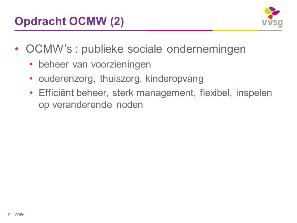 VVSG - Opdracht OCMW (2) OCMW's : publieke sociale ondernemingen beheer van voorzieningen ouderenzorg, thuiszorg, kinderopvang Efficiënt beheer, sterk management, flexibel, inspelen op veranderende noden 9 -