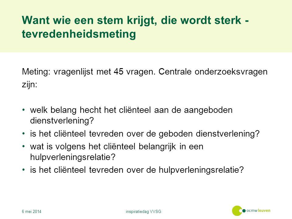 Want wie een stem krijgt, die wordt sterk - tevredenheidsmeting 6 mei 2014inspiratiedag VVSG Meting: vragenlijst met 45 vragen.
