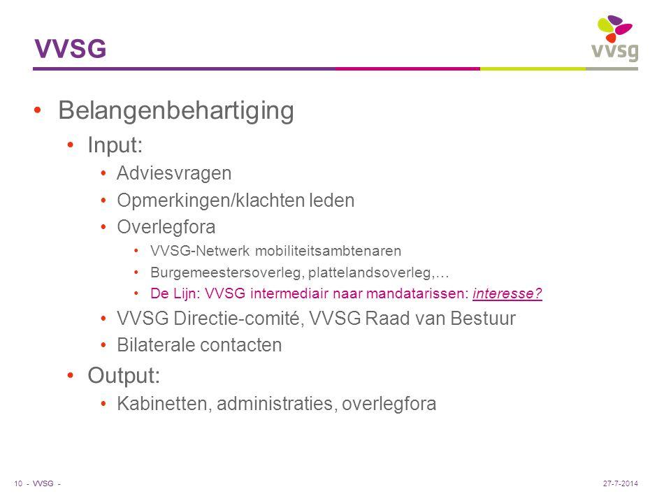 VVSG - VVSG Belangenbehartiging Input: Adviesvragen Opmerkingen/klachten leden Overlegfora VVSG-Netwerk mobiliteitsambtenaren Burgemeestersoverleg, plattelandsoverleg,… De Lijn: VVSG intermediair naar mandatarissen: interesse.