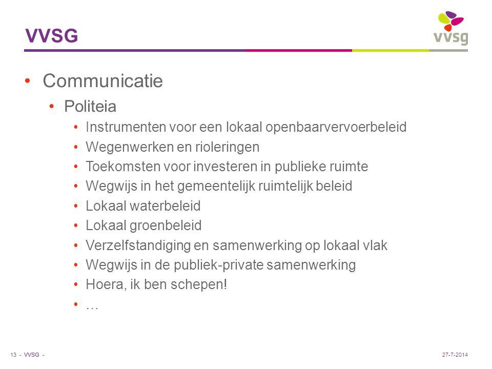 VVSG - VVSG Communicatie Politeia Instrumenten voor een lokaal openbaarvervoerbeleid Wegenwerken en rioleringen Toekomsten voor investeren in publieke ruimte Wegwijs in het gemeentelijk ruimtelijk beleid Lokaal waterbeleid Lokaal groenbeleid Verzelfstandiging en samenwerking op lokaal vlak Wegwijs in de publiek-private samenwerking Hoera, ik ben schepen.