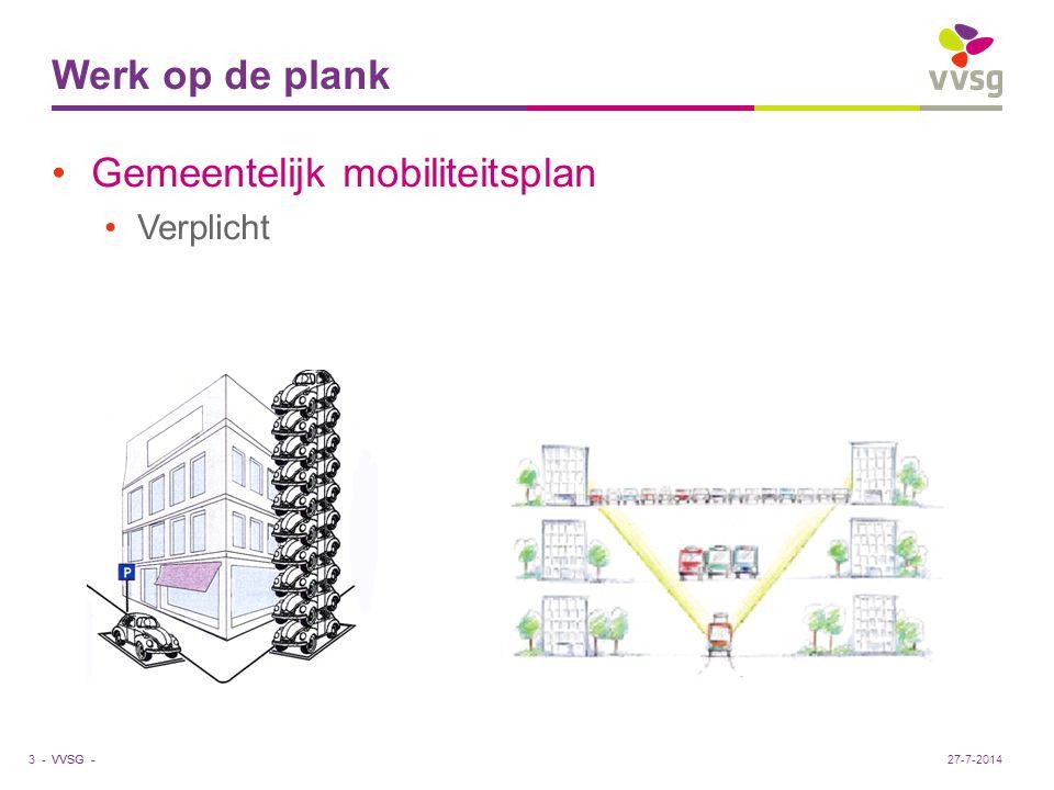 VVSG - Werk op de plank Gemeentelijk mobiliteitsplan Verplicht 3 -27-7-2014