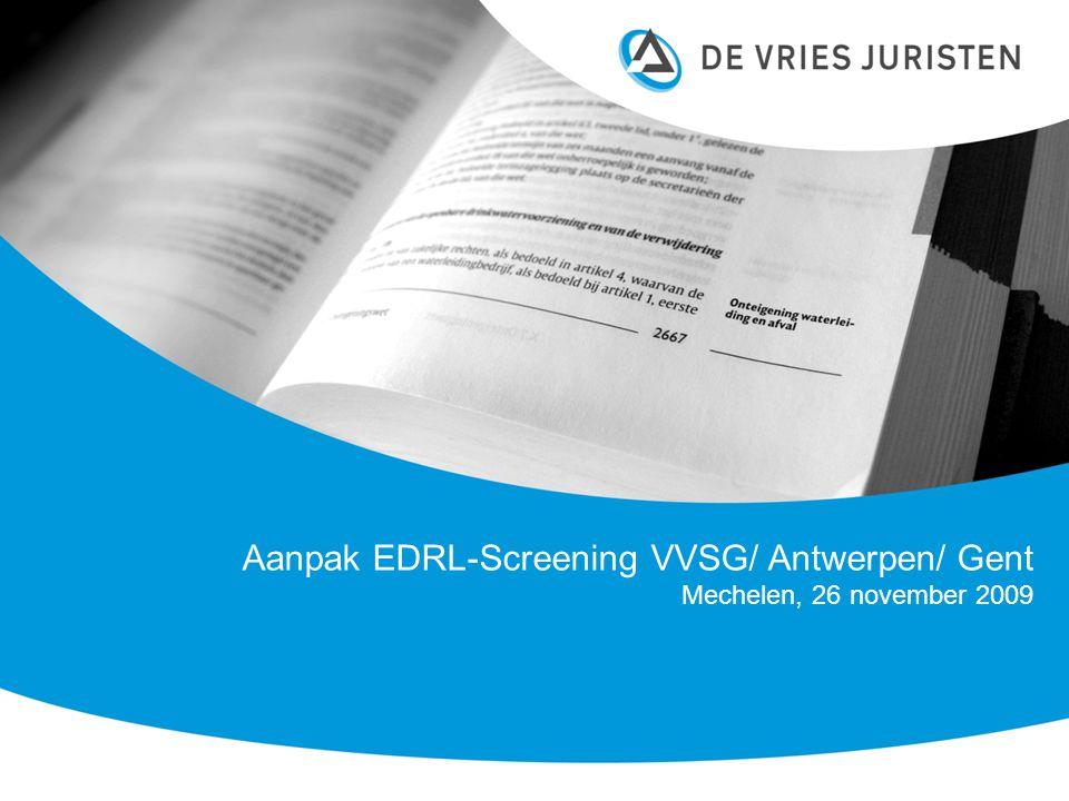 Inhoud opdracht Werkzaamheden Prescreening reglementen Antwerpen en Gent (positieve lijst).