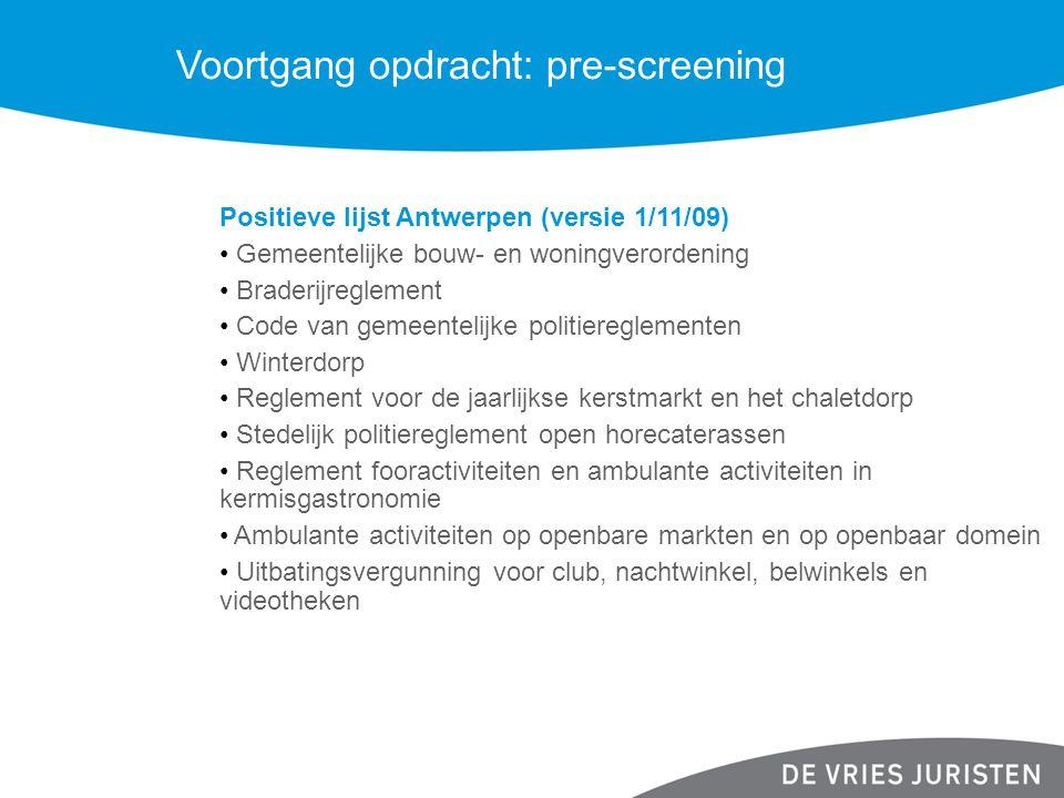 Voortgang opdracht: pre-screening Positieve lijst Antwerpen (versie 1/11/09) Gemeentelijke bouw- en woningverordening Braderijreglement Code van gemee
