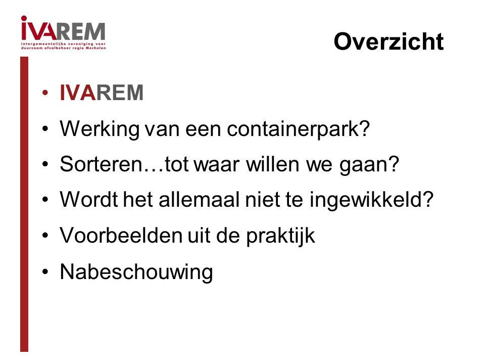 IVAREM IVAREM = intergemeentelijke vereniging voor duurzaam afvalbeheer regio Mechelen