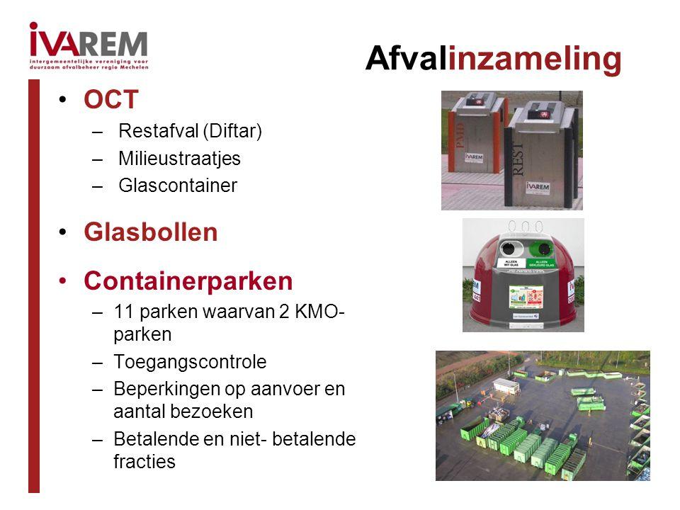 Afvalinzameling OCT – Restafval (Diftar) – Milieustraatjes – Glascontainer Glasbollen Containerparken –11 parken waarvan 2 KMO- parken –Toegangscontrole –Beperkingen op aanvoer en aantal bezoeken –Betalende en niet- betalende fracties