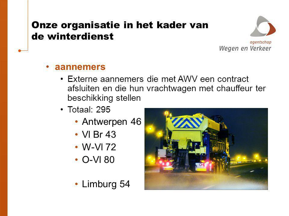 Onze organisatie in het kader van de winterdienst aannemers Externe aannemers die met AWV een contract afsluiten en die hun vrachtwagen met chauffeur