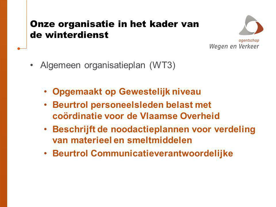 Onze organisatie in het kader van de winterdienst Algemeen organisatieplan (WT3) Opgemaakt op Gewestelijk niveau Beurtrol personeelsleden belast met c